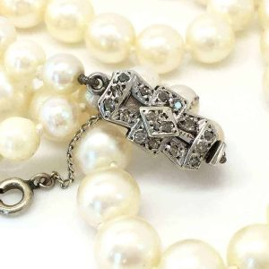 Art Deco Saltwater Cultured Akoya Pearl Necklace on 9ct, 9k White gold Diamond Clasp, Circa 1920's,