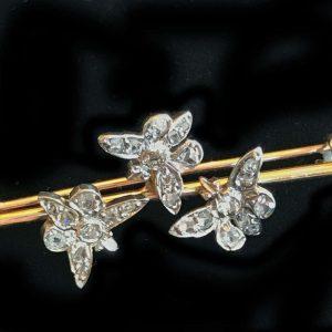Art Nouveau 15ct, 15k, 625 Gold Rose cut Diamond Butterfly design brooch, pin