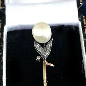 Art Nouveau 15ct Gold Pearl and Diamond stick pin