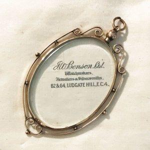 Art Nouveau 9ct, 9k, 375 rose gold oval double glassed locket, pendant 64 x 39mm