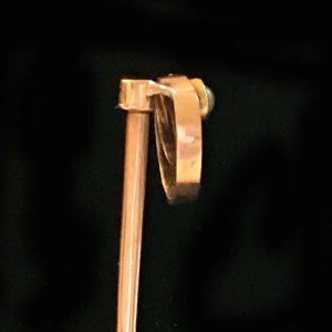 Art Nouveau 9ct, 9k, 375 rose gold Pearl stick, tie, cravat, lapel pin C1900