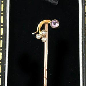 Art Nouveau 9ct Gold Amethyst & Pearl Stick pin