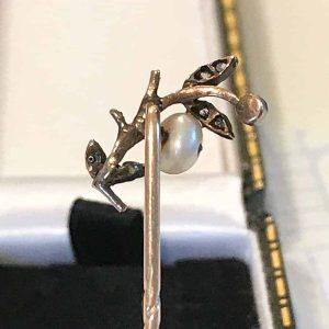 Art Nouveau, rose gold Pearl & Diamond stick, tie, cravat pin, Circa 1895