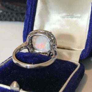 Beautiful, 9ct, 9k, 375 White Gold Opal and Diamond Cluster dress, cocktail ring