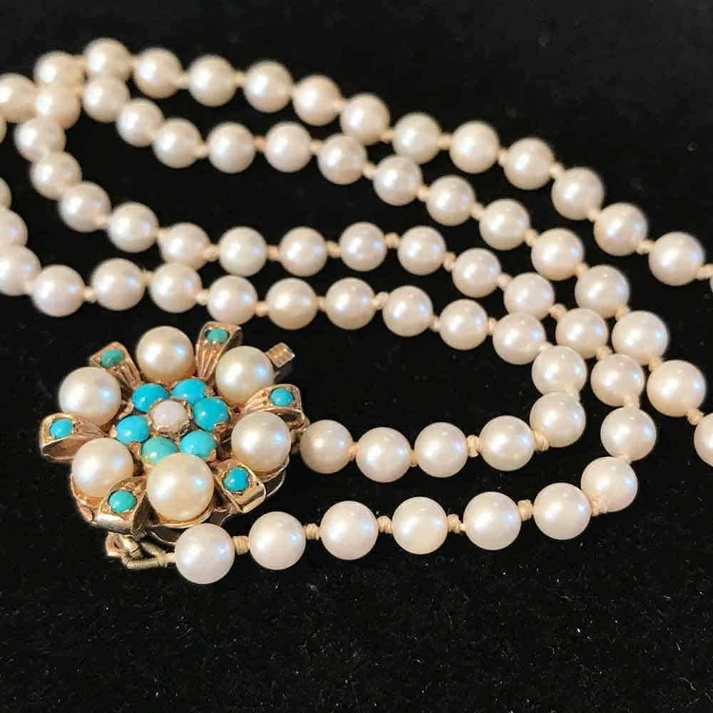 Beautiful Cultured Akoya Pearl Necklace on 9ct Turquoise & Pearl cluster Clasp