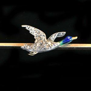 Fine, Edwardian 15ct & Plat Diamond & Enamel mallard duck brooch, tie pin, C1905