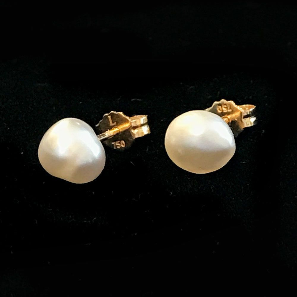 Classic 18ct, 18k, 750 Gold Baroque Cultured Pearl 7.5mm stud earrings