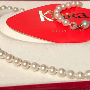 Cultured Pearl necklace on 18ct, 18k, 750 Gold Pearl clasp with red enamel heart