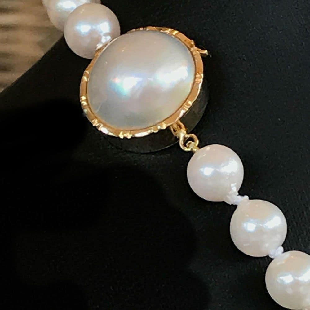 Cultured Saltwater baroque pearls on a 14ct, 14k, 585 Gold Mabe pearl clasp