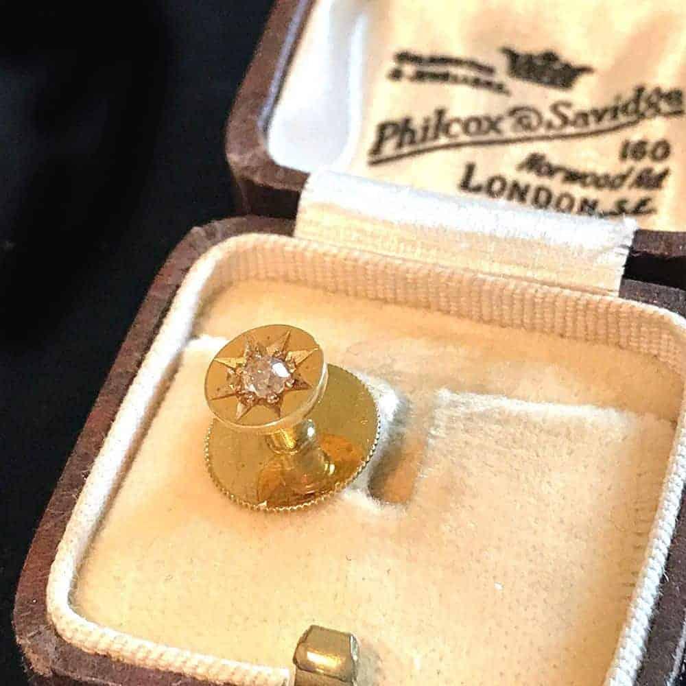 Edwardian 15ct, 15k, 625 Gold mine-cut Diamond solitaire stud in box Circa 1905