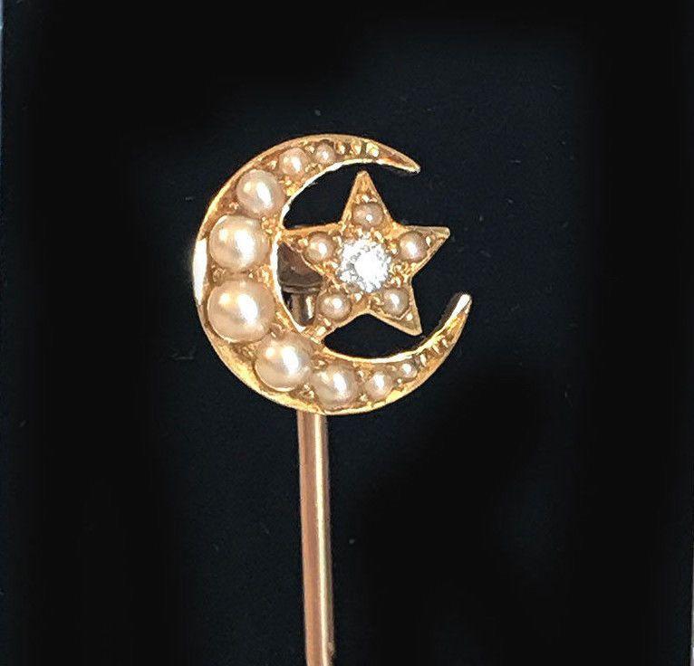 Edwardian, 15ct, 15k, 625 Gold Pearl and Diamond Crescent & Star tie, stickpin