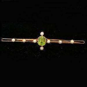 Edwardian 15ct, 15k, 625 Gold Peridot & Pearl Bar Brooch, Circa 1910