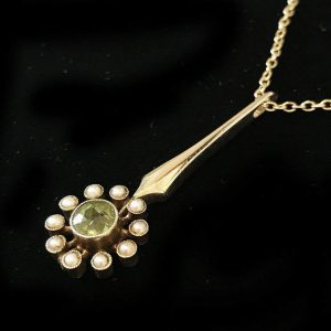 Edwardian 15ct, 15k, 625 Gold Peridot & Pearl Cluster Pendant on 9ct chain