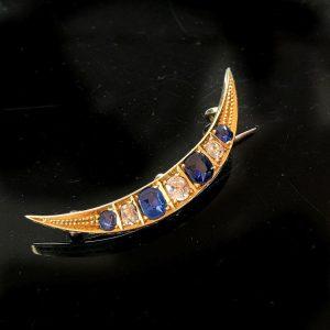 Edwardian 15ct, 15k, 625 Gold Sapphire & Diamond Crescent brooch