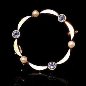 Edwardian 15ct, 15k 625 Gold Sapphire & Pearl circlet brooch, pin, C1910