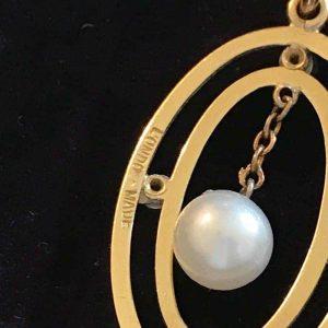Edwardian 15ct gold & Platinum, Pearl & Diamond oval pendant on 9ct chain, C1910