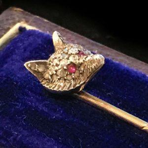 Edwardian 15ct Rose Gold & Silver Diamond Fox head Stick, tie, cravat pin, C1905