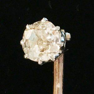 Edwardian, 18ct, 18k, 750 Gold Diamond solitaire stick, tie, cravat pin, C1905