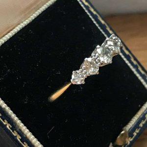 Edwardian, 18ct, 18k, 750 gold five stone Diamond 0.70ct ring, C1910
