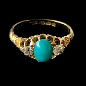 Edwardian, 18ct, 18k, 750 Gold Natural Turquoise & old-cut Diamond ring, C1903