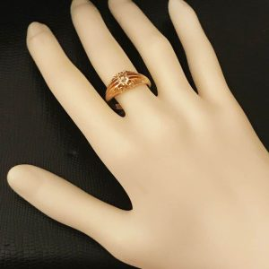 Edwardian 18ct, 18k, 750 gold old-cut Diamond 0.55ct Gypsy ring, Chester 1907