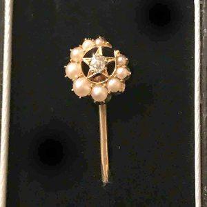 Edwardian, 18ct, 18k, 750 Gold Pearl & Diamond Crescent & Star tie, stickpin