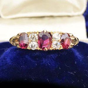 Edwardian 18ct, 18k, 750 Gold Ruby & Diamond carved hoop ring, Circa 1901