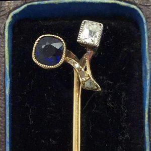 Edwardian 18ct, 18k, 750 Gold Sapphire & Diamond Stick pin in Antique box
