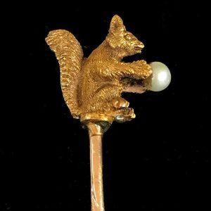 Edwardian, 18ct, 18k, 750 Gold Squirrel & Pearl stick, tie, cravat, lapel pin