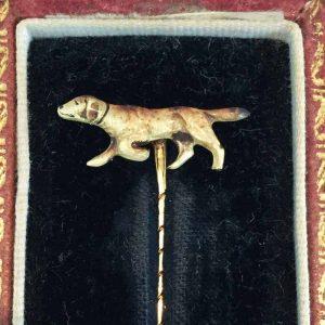 Edwardian 18ct Gold enamel dog stick pin & box