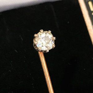 Edwardian 18ct & platinum Diamond 0.47ct solitaire stick, tie, cravat, lapel pin