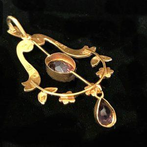 Edwardian, 9ct, 9k, 375 gold Amethyst & Pearl lavalier necklace maker H&W, C1905