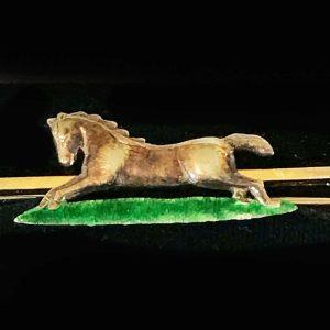Edwardian, 9ct, 9k, 375 Gold & Enamel Horse bar brooch with antique box