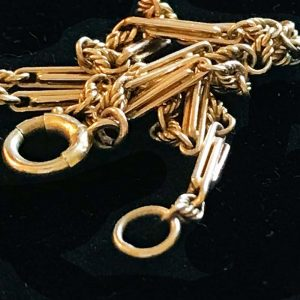 "Edwardian, 9ct, 9k, 375 Gold fancy link chain bracelet, 7.25"" C1910, inc UK VAT"