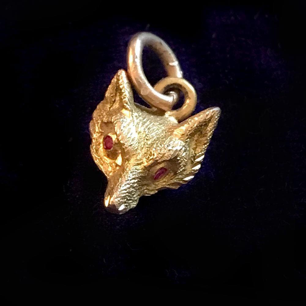Edwardian, 9ct, 9k, 375 Gold fox head charm with ruby eyes,  inc UK VAT