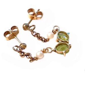 Edwardian 9ct, 9k, 375 gold Peridot & Pearl drop, dangle earrings Circa 1910