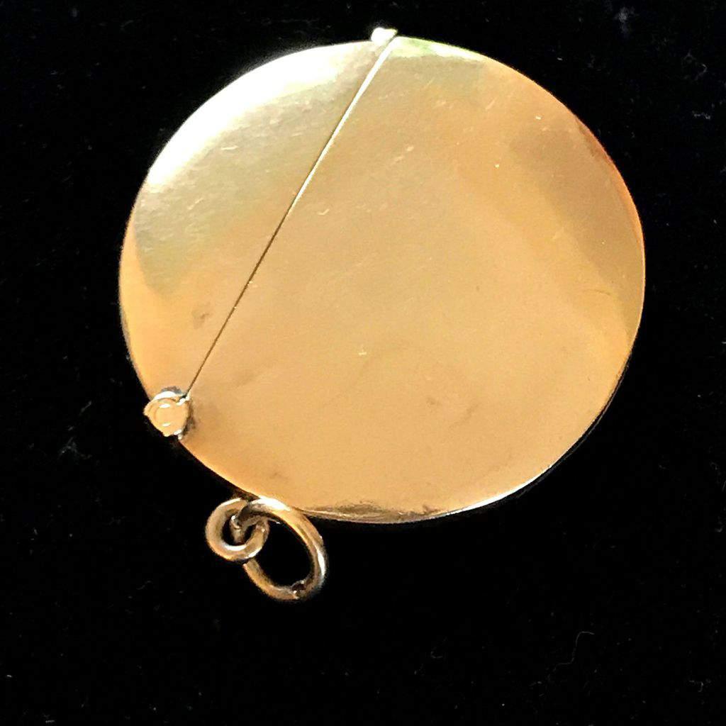 Edwardian 9ct, 9k, 375 Gold Vesta case, match safe Chester 1901 diameter 4.2 cm