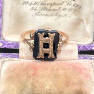 Edwardian, 9ct, 9k, 375 Rose Gold & Black Onyx Initial H ring, Circa 1901