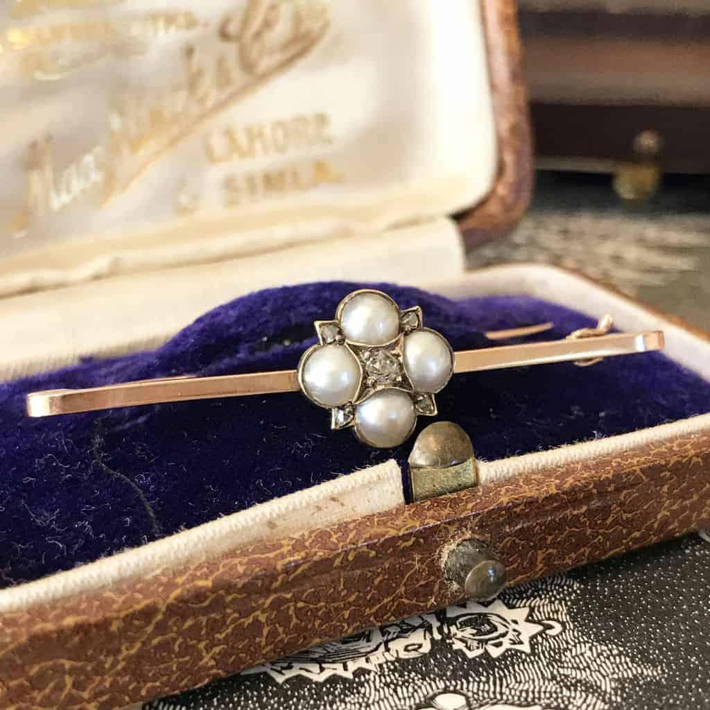 Edwardian 9ct, 9k, 375 Rose Gold Natural Pearl & Rose-cut Diamond Brooch, Pin