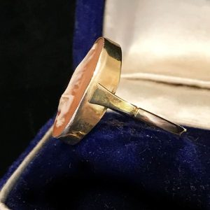 Edwardian 9ct, 9k, 375 Yellow Gold Cameo Navette Ring, theatrical theme C1910