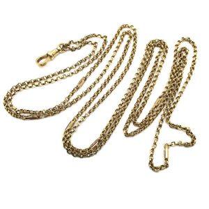 "Edwardian 9ct Gold fancy link Muff, Guard Chain 47"" / 119 cms"