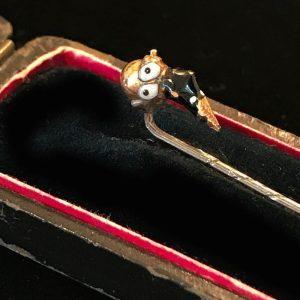 Edwardian blackamoor 14ct, 14k, 585 gold & enamel stick, tie, pin in antique box