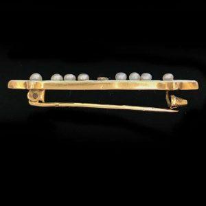 Edwardian, French 18ct Gold Diamond, Pearl & Enamel brooch, C1910 - inc UK VAT