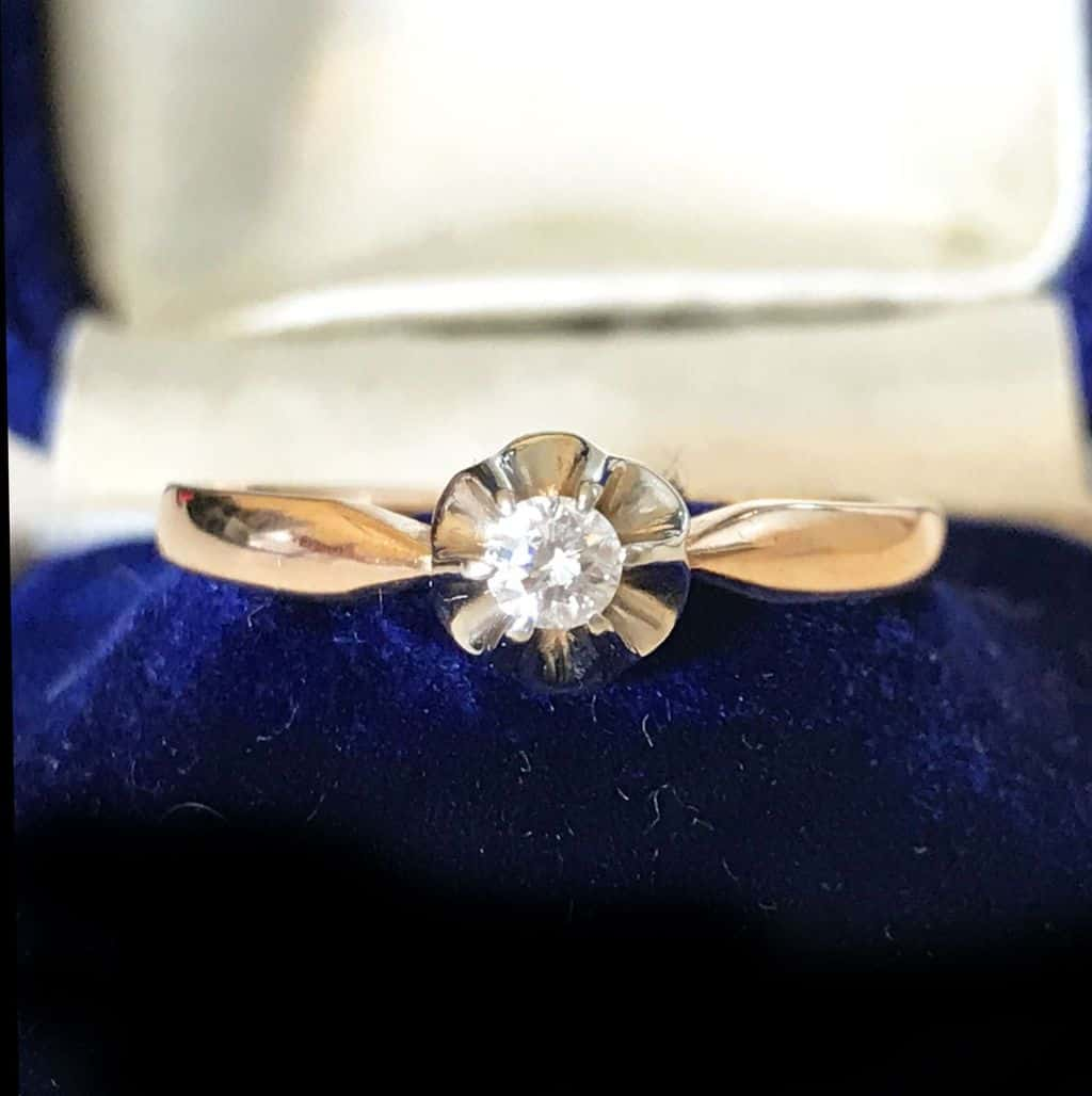 Edwardian, French 9ct Rose Gold solitaire Diamond 0.15ct engagement ring C1910