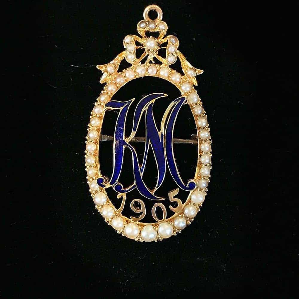 Edwardian high carat gold Enamel & Pearl initial KM Monogram brooch, dated 1905
