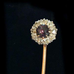 Edwardian platinum & gold Diamond & Alexandrite ?, stick, tie, cravat, lapel pin