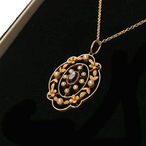 Exquisite, Edwardian 15ct, 15k, 625 Gold Amethyst & Pearl lavalier Pendant C1910