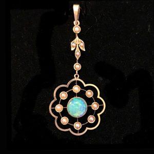 Exquisite, Edwardian 15ct, 15k, 625 Gold Opal & Pearl lavalier, pendant, C1905