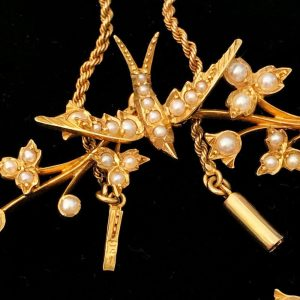 Exquisite Edwardian, 15ct, 15k, 625 Gold & Pearl Swallow, swift necklace, C1901