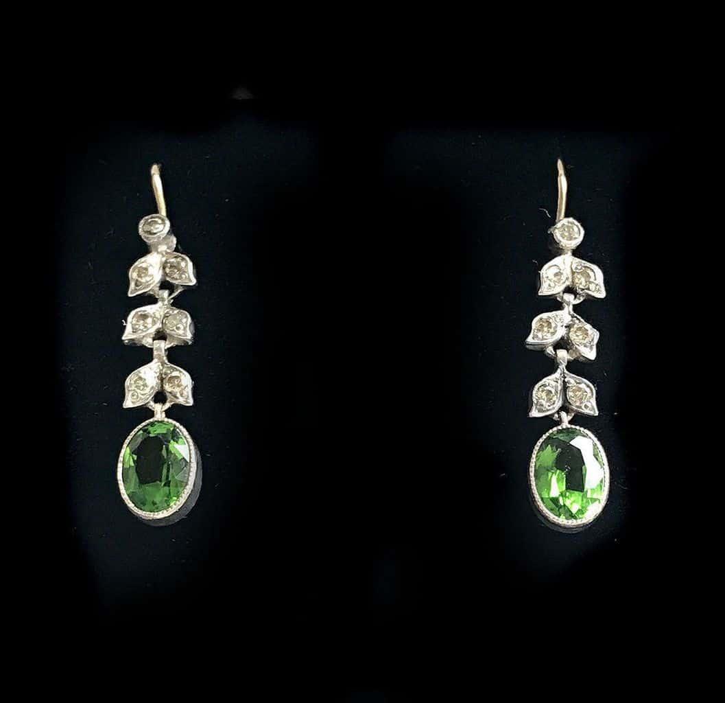 Exquisite, Edwardian 15ct, 15k 625 Gold Peridot & Diamond drop earrings C1901
